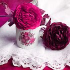Still life with paper flowers by Angela Bruno