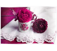 Still life with paper flowers Poster
