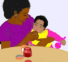 Mother Feeding Her Baby by PharrisArt