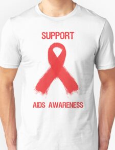 Support Aids Awareness Red Ribbon T-Shirt