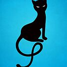 Blue Gracious Evil Black Cat by Boriana Giormova