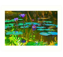 Colorful waters colored flowers Art Print