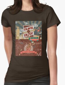 Vintage Taiwan travel illustration Womens Fitted T-Shirt