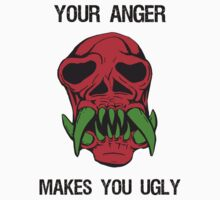 Anger Makes You Ugly Skull by Sarah  Eldred