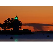 Goat Island lighthouse Newport, RI Photographic Print