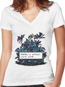 NateWantsToBattle - Repel Wore Off Women's Fitted V-Neck T-Shirt