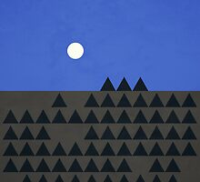 Full moon over the mountains by emado