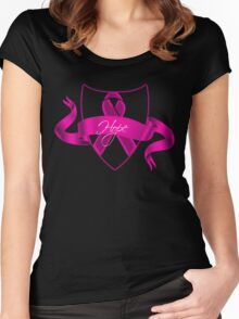 Breast Cancer Hope Ribbon Shield Awareness Women's Fitted Scoop T-Shirt