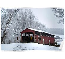 Snow Covered Covered Bridge Poster