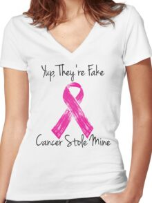 Breast Cancer Survivor Ribbon Women's Fitted V-Neck T-Shirt