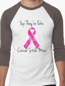 Breast Cancer Survivor Ribbon Men's Baseball ¾ T-Shirt