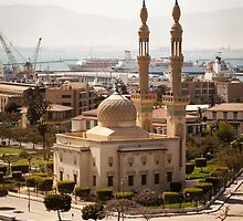 Egyptian Mosque on the Suez Canal by mcdonojj