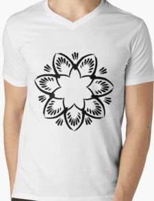 Simplistic and floral (Black and white~) Mens V-Neck T-Shirt