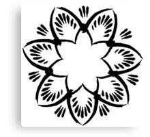 Simplistic and floral (Black and white~) Canvas Print
