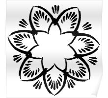 Simplistic and floral (Black and white~) Poster