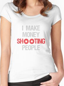Photographer Shooting People Design Women's Fitted Scoop T-Shirt