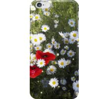 Poppies and Daisies on Red iPhone Case/Skin