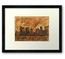 New York Sky Line Created With Tea Framed Print