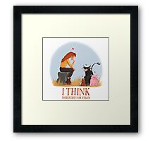 I think therefore I am vegan Framed Print
