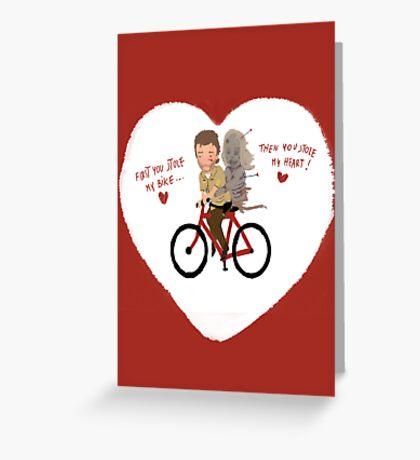 the walking heart/bike Greeting Card