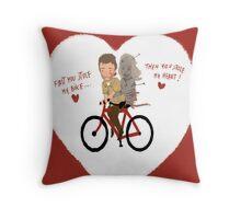 the walking heart/bike Throw Pillow