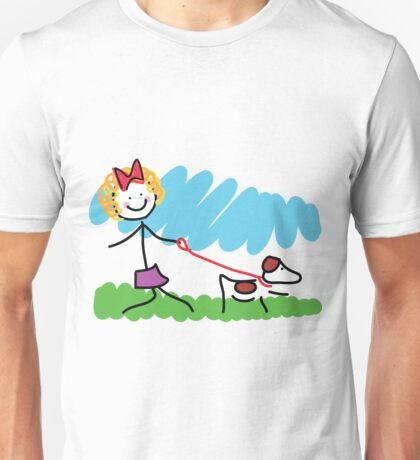 Little Girl and Dog Drawing Unisex T-Shirt