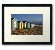 View of the beach huts at Southwold Framed Print