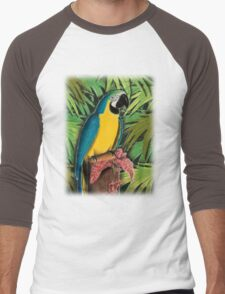 Blue and Gold Macaw Men's Baseball ¾ T-Shirt