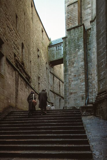 Climb to church Mont st Michel 198402200018  by Fred Mitchell