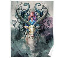 Ashitaka Demon Mononoke Digital Painting Poster