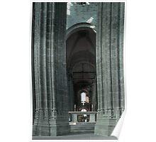Nave through ambulatory apse pillars behind altar church Mont St Michel 19840220 0030 Poster