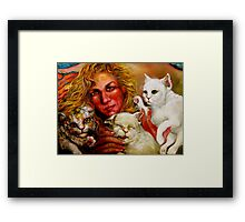 Artist and 3 Cats, One Biting Hand That Feeds Framed Print