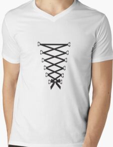 Corset Ribbon Mens V-Neck T-Shirt