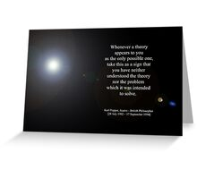 'Theory' By Karl Popper  [Austro - British Philosopher]  Greeting Card