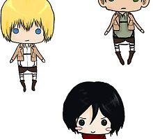 Eren, Mikasa, Armin by tobiejade