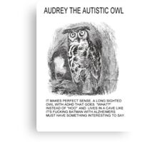 Audrey The Autistic Owl Lives In A Cave Canvas Print