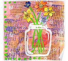 Flower Fields Mason Jar Poster