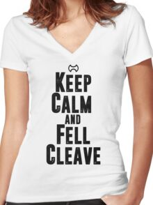 Keep Calm and Fell Cleave Women's Fitted V-Neck T-Shirt