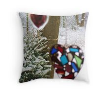 A Snowy (But Warm) Valentine Throw Pillow