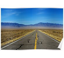 Highway through vast empty spaces, Nevada Poster