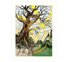 Cliff edge pen drawn tree: the Airbrush version Art Print