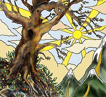Cliff edge pen drawn tree: the Airbrush version by Grant Wilson