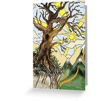 Cliff edge pen drawn tree: the Airbrush version Greeting Card