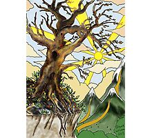 Cliff edge pen drawn tree: the Airbrush version Photographic Print