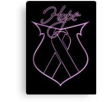Hope Ribbon Shield Breast Cancer Canvas Print