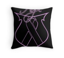 Hope Ribbon Shield Breast Cancer Throw Pillow