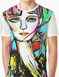 Abstract Colorful Red Head Girl Graphic T-Shirt