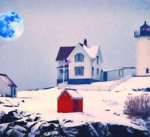 Cape Neddick Light snow by Adam Asar