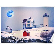Cape Neddick Light snow Poster
