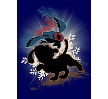 Super Smash Bros. Blue Duck Hunt Dog Silhouette Photographic Print